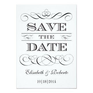 Simple Elegance Black and White Save the Date Card