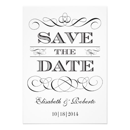 Simple Elegance Black and White Save the Date Invites