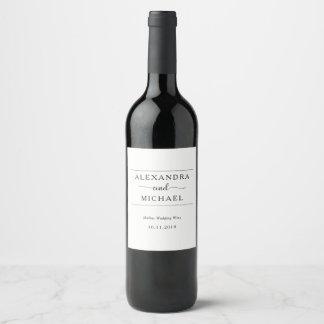 Simple Elegance | Black and White Wedding Wine Label