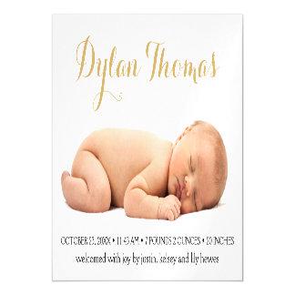Simple Elegance Custom Photo Birth Announcement Magnetic Invitations