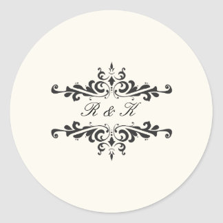 Simple Elegance Envelope Seal- Cream Round Sticker