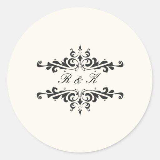 Simple Elegance Envelope Seal- Cream Round Stickers