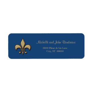 Simple Elegance Gold Blue Fleur de Lis Return Address Label