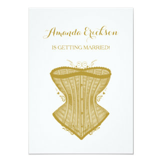 Simple Elegance Gold Corset Lingerie Bridal Shower 13 Cm X 18 Cm Invitation Card