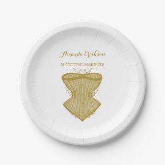 Simple Elegance Gold Corset Lingerie Bridal Shower 7 Inch Paper Plate