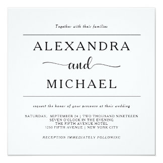 Simple Elegance | Minimal Black and White Wedding 13 Cm X 13 Cm Square Invitation Card