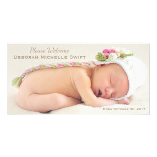Simple Elegance Photo Birth Announcement Photo Greeting Card