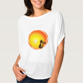 Simple Elegant and cat blouse watching the sunset T-Shirt