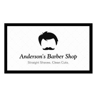 Simple Elegant Barber Shop Logo Modern Black White Pack Of Standard Business Cards