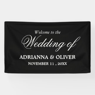 Simple Elegant Black And White Welcome Wedding Banner