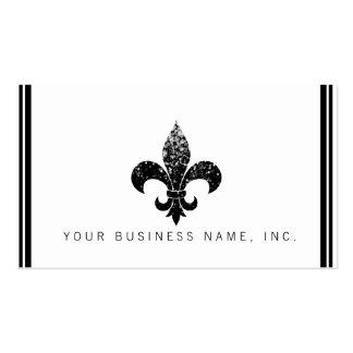 Simple Elegant Black Sequined Fleur De Lis Business Card Templates