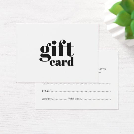 Simple Elegant Black White Beauty Gift Certificate
