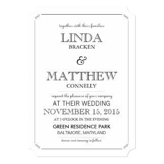 Simple Elegant Black & White Wedding Invitation