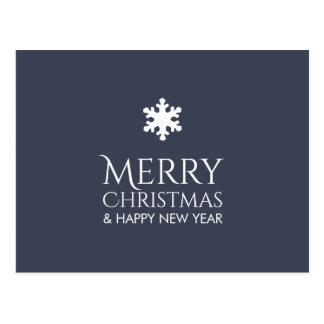 Simple Elegant Blue Snowflake Xmas Postcard