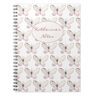 Simple & Elegant Blush Butterfly Pattern Notebook