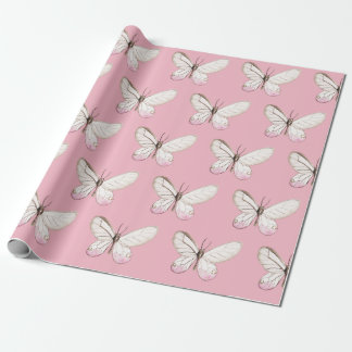 Simple & Elegant Blush Butterfly Wrapping Paper