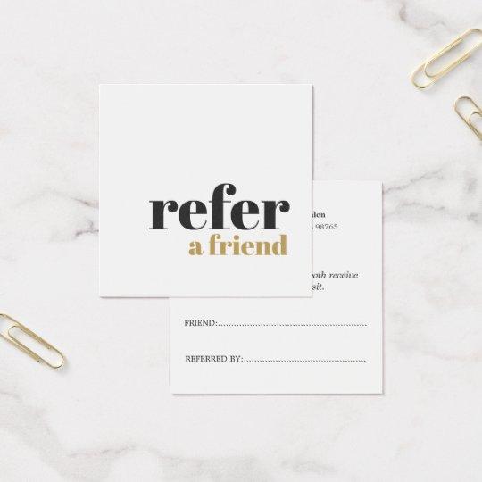 Simple Elegant Bold Beauty Salon Referral Card