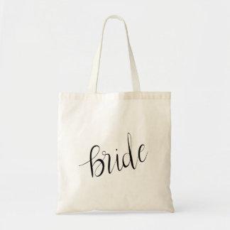 Simple Elegant Bride Typography Wedding Tote Bag