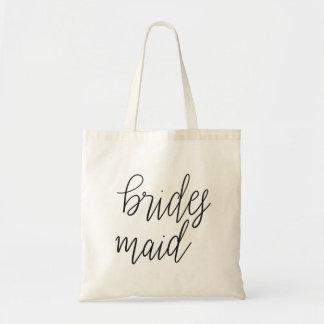 Simple Elegant Bridesmaid Typography Wedding Tote Bag