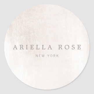 Simple Elegant Brushed White Marble Professional Round Sticker