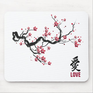 Simple & Elegant Cherry Blossom Love | Mousepad