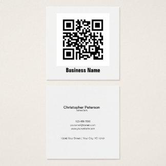 Simple elegant classic black and white QR Code Square Business Card