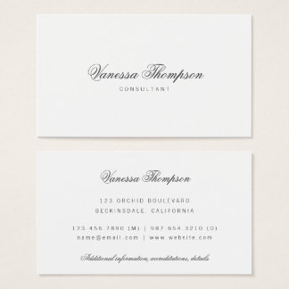 Simple Elegant Classy Script Minimalist Business Card