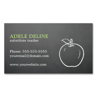 Simple Elegant Cool Texture Grey Apple Teacher Magnetic Business Card