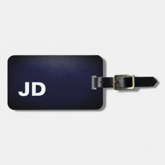 Simple Elegant Dakr Blue Linen White Monogram Luggage Tag