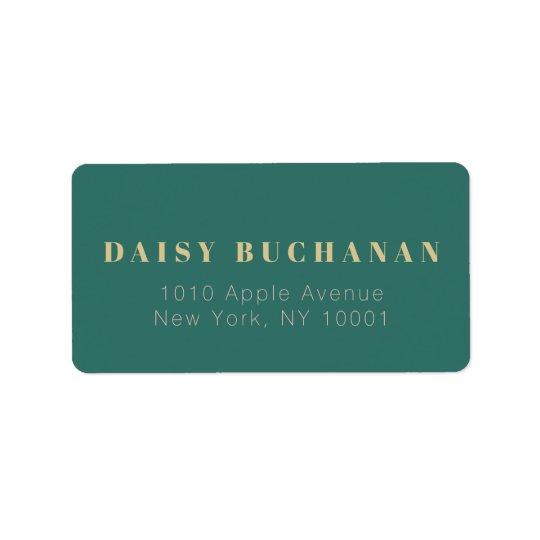Simple Elegant Dark Green Gold Address Label