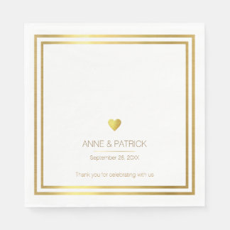 simple & elegant faux gold on white wedding party disposable napkin