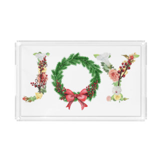 Simple elegant floral Christmas wreath joy script Acrylic Tray