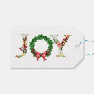 Simple elegant floral Christmas wreath joy script Gift Tags