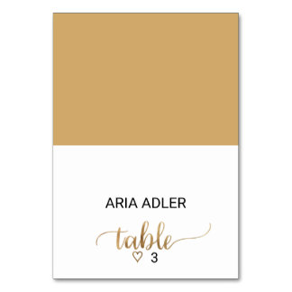 Simple Elegant Gold Calligraphy Escort Place Card