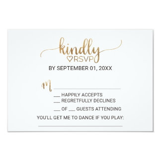 Simple Elegant Gold Calligraphy Song Request RSVP Card