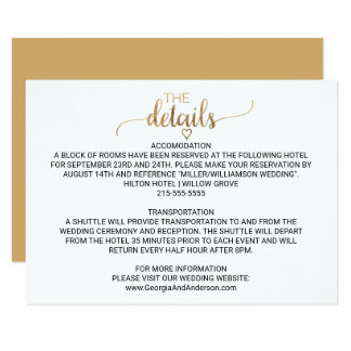 Simple Elegant Gold Calligraphy Wedding Details Card