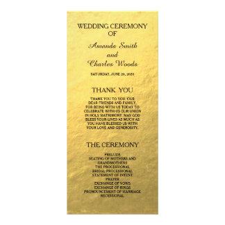 Simple Elegant Gold Faux Foil Wedding Programs Rack Card Design