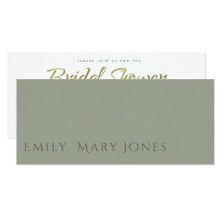 SIMPLE ELEGANT GOLD GRET TYPOGRAPHY Bridal Shower Card