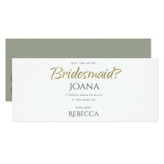 SIMPLE ELEGANT GOLD GREY TYPOGRAPHY Bridesmaid Card