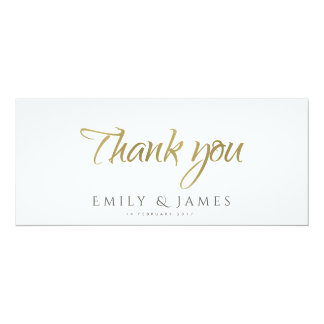 SIMPLE ELEGANT GOLD GREY TYPOGRAPHY Thank You Card