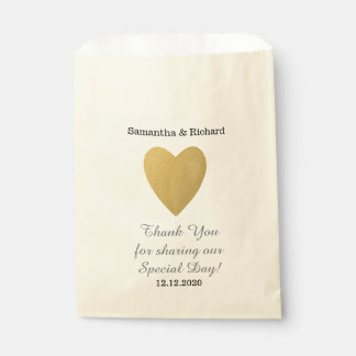 Simple Elegant Gold Heart Wedding Thank you Favour Bags