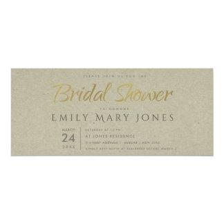 SIMPLE ELEGANT GOLD KRAFT TYPOGRAPHY Bridal Shower Card