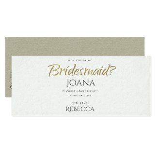 SIMPLE ELEGANT GOLD KRAFT TYPOGRAPHY Bridesmaid Card