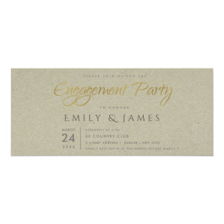 SIMPLE ELEGANT GOLD KRAFT TYPOGRAPHY Engagement Card
