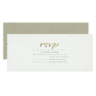 SIMPLE ELEGANT GOLD KRAFT TYPOGRAPHY RSVP CARD