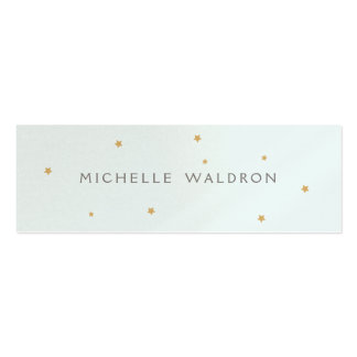 Simple Elegant Gold Stars Blue Pearlized Double-Sided Mini Business Cards (Pack Of 20)