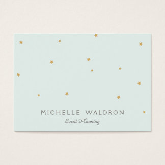 Simple Elegant Gold Stars Event Planner Light Aqua Business Card