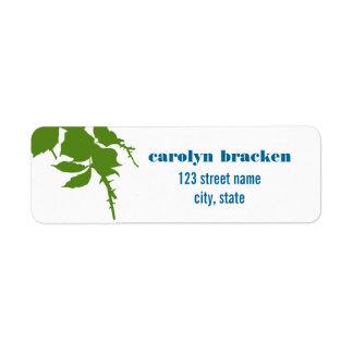 Simple Elegant Green Leaves Return Address Label