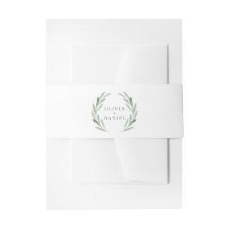 Simple Elegant Green Wreath Rustic Wedding Invitation Belly Band