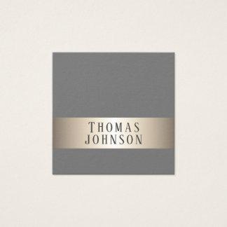 Simple Elegant Grey Faux Copper Stripe Consultant Square Business Card